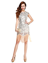 Cocktail Party Dress Sheath / Column Jewel Knee-length Sequined with Sequins Tassel(s)