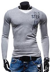 Tee-shirt Hommes,Couleur Pleine Lettre Sortie Décontracté / Quotidien simple Toutes les Saisons Manches Longues Col en V Multi-couleur