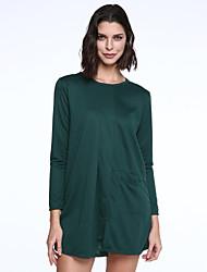 Ample Robe Femme Décontracté / QuotidienCouleur Pleine Col Arrondi Au dessus du genou Manches Longues Noir Vert Orange PolyesterAutomne
