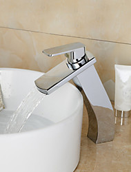 Modern Heightening Chrome Finish Waterfall Bathroom Sink Faucet - Silver