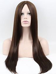 Women 's Wigs In Europe And The United States Long Hair Straight Hair Dark Brown Matt High Temperature Wire Wig
