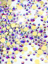 Shining 1440 Pcs/Pack 1.3-3.2mm AB Color Gold Back Nail Rhinestones 3D Beauty DIY Crystal Nail Decor Accessory