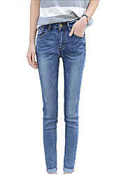 Women's Skinny Jeans Pants,Casual/Daily Sexy Solid Rivet Mid Rise Button Cotton Stretchy Summer