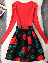 Women's Formal Cute Sheath Dress,Floral Round Neck Above Knee Long Sleeve Red Cotton Fall Mid Rise Micro-elastic Medium
