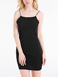 Women's Club Sexy Bodycon Dress,Solid Round Neck Midi Sleeveless Black Polyester Summer Low Rise Micro-elastic Thin