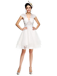 Lanting Bride® A-Linie Hochzeitskleid - Schick & Modern Schlichte Brautkleider / Durchsichtig Knie-Länge V-Ausschnitt Tüll mit