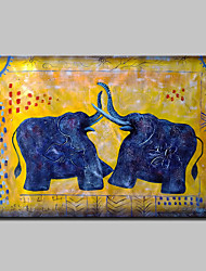 Hand Painted Two Elephants Oil Painting On Canvas Modern Abstract Animal Wall Art Pictures For Home Decoration Ready To Hang