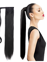 "24"" Long Straight Wrap Around Ponytail Extension High Quality Hairpiece Multicolor Heat-friendly Fiber"