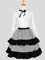 Skirt / Blouse/Shirt Classic/Traditional Lolita Elegant Cosplay Lolita Dress White Solid / Striped Long Sleeve Knee-length Blouse / Skirt
