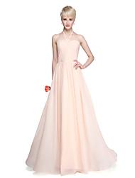2017 Lanting Bride® Floor-length Chiffon Elegant Beautiful Back Bridesmaid Dress - A-line Halter with Side Draping Ruching