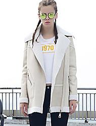 Feminino Jaqueta Casual Moda de Rua Inverno, Sólido Bege Preto Verde Pêlo Sintético Poliéster Lapela Chanfrada-Manga Longa Média