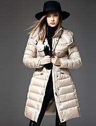 Пальто Простое Пуховик Женский,Однотонный На каждый день Полиэстер Пух белой утки,Длинный рукав Капюшон Бежевый