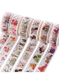 6PCS DIY Decorative Tape Masking Adhesive Tape Scrapbooking Diary Wall Decorative stickers 7M