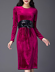 Winter Women's Go out  Casual Street chic Shift Dress Solid Color Round Neck Knee-length Long Sleeve Prom Dress