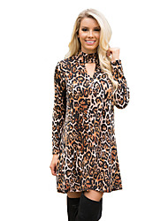 Women's Casual/Daily Simple Loose Dress,Leopard Stand Above Knee Long Sleeve Brown Polyester Fall Mid Rise Micro-elastic Medium