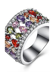 Bague Zircon cubique Zircon Cuivre Acier au titane Imitation de diamant Goutte Argent Bijoux Quotidien Décontracté 1pc