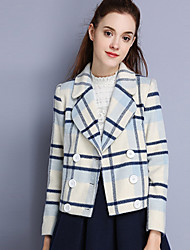 KAN F Women's Casual/Daily Simple CoatStriped Notch Lapel Long Sleeve Winter White Wool Polyester