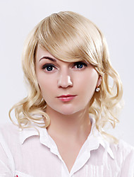 perruque blonde de chaleur capless bouclés synthétique résistant avec bang pour dames européennes portant dialy