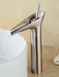 Winebowl Style Single Handle One Hole Nickel Brushed Bathroom Sink Faucet