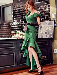 DABUWAWA Women's Vintage Inspired/Sexy /Elegant Trumpet/Mermaid Straps Asymmetrical Polyester with Bow(s)/Ruffles/Pleats DressSolid Knee-length