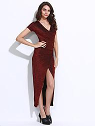 Feminino Bandagem / Bainha Vestido,Casual / Formal / Festa/Coquetel Sensual Sólido Decote V Assimétrico Manga CurtaAzul / Vermelho /