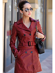 Dames Eenvoudig Herfst Winter Leren jacks,Casual/DagelijksLange mouw Rood Zwart Effen Medium Overige