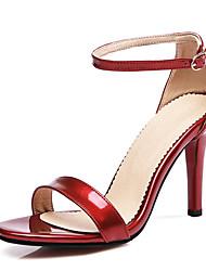 Damen-Sandalen-Lässig Party & Festivität-PU-StöckelabsatzSchwarz Rosa Rot