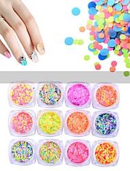 12pcs / set mat ronde paillettes ongles poudre art glitter poussière