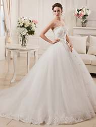 Ball Gown Strapless Court Train Satin Tulle Wedding Dress with Beading