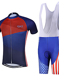 Sports QKI USA Cycling Jersey with Bib Shorts Men's Short Sleeve BikeBreathable / Quick Dry / Anatomic Design / Back Pocket /3D Coolmax Gel Pad