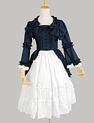 One-Piece/Dress Sweet Lolita Princess Cosplay Lolita Dress Solid Long Sleeve Tea-length Dress For Cotton