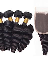 5 Peças Ondulação Larga Tramas de cabelo humano Cabelo Brasileiro 0.47 kg 8-24inch Extensões de cabelo humano
