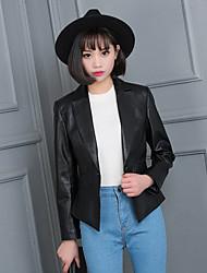 Women's Formal Street chic Fall Leather Jackets,Solid Collarless Long Sleeve Black Lambskin Medium