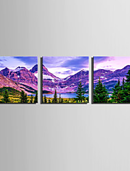 E-HOME Stretched Canvas Art The Plateau Lakes Decoration Painting Set Of 3