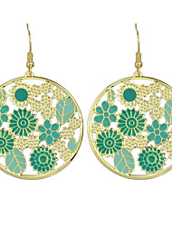 Colorful Flower Long Drop Statement Earrings