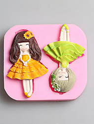 G001 Lovely Girls 3D Silicone Cake Mold Cookware Dining Bar Cake Decorating Fondant Mold