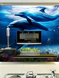 JAMMORY 3D Wallpaper For Home Contemporary Wall Covering Canvas Material Blue Dolphin UnderseaXL XXL XXXL