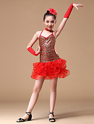 Latin Dance Dresses Children's Performance Polyester Flower(s) / Sequins 5 Pieces Sleeveless High Gloves / Dress / Neckwear / Headpieces