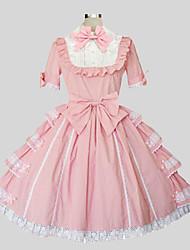 Uma-Peça/Vestidos Doce Princesa Cosplay Vestidos Lolita Rosa Cor Única Longuete Vestido Para Algodão