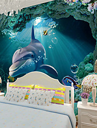 JAMMORY 3D Wallpaper Contemporary Wall CoveringCanvas Stereoscopic Large Mural  Deep-sea lLandscape Dolphin Fish XL XXL XXXL