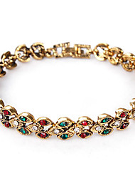 Women's Chain Bracelet Crystal Rhinestone Simple Style Fashion Leaf Silver Golden Jewelry 1pc