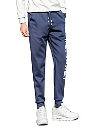 Men's Plus Size Slim / Skinny Chinos / Sweatpants Pants,Casual/Daily / Club / Sports Vintage / Simple / Active Solid Low RiseDrawstring /