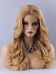 Charming Long Natural Wavy Human Hair Lace Front Wig