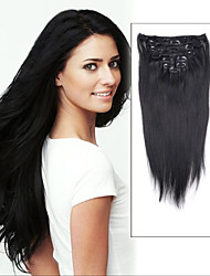 15inch 7pcs Straight 100% Hair Clip in human Hair Extensions#1-Jet Black