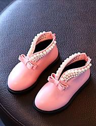 Girls' Boots Comfort Leatherette Spring Fall Winter Casual Comfort Imitation Pearl Flat Heel Black Ruby Blushing Pink Flat