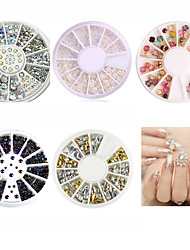 5pcs Nail Art Decoration White Pearl Colorized Rhinestones 3D Glitter Metal Round Wheel Stickers Square Rivet Studs Nail Supplies