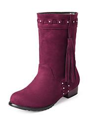 Women's Boots Spring Fall Winter Comfort Fleece Office & Career Casual Athletic Low Heel Sparkling Glitter Tassel Braided StrapBlack