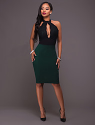 Women's Casual/Daily Sexy Bodycon Dress,Solid Round Neck Midi Short Sleeve Black Polyester Spring Low Rise Micro-elastic Medium