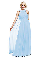 LAN TING BRIDE Floor-length Chiffon Bridesmaid Dress - Ball Gown Halter with Beading