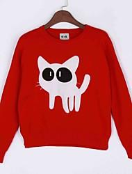 Damen Standard Pullover-Lässig/Alltäglich Einfach Druck Rot Weiß Schwarz Grau Rundhalsausschnitt Langarm Kaninchen-Pelz Frühling Herbst